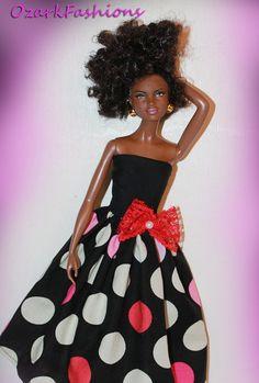 Handmade Barbie Doll dress Barbie Clothes - Black Polka Dot - Barbie Outfit via Etsy