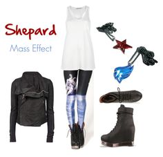 """""""Shepard in Space"""" by elocinecko ❤ liked on Polyvore featuring Jeffrey Campbell, T By Alexander Wang, Rick Owens, blackmilk, games, spaceman leggings, video game, mass effect, leggings and elocinecko"""