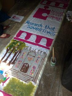 A close up of Think Pink's Tour de France banner! #york #tourdefrance #volunteer #pink
