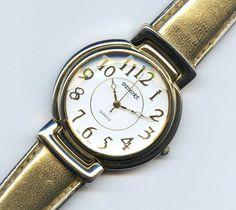 Vintage Demore Large Bezel Gold Strap Quartz Ladies Watch Runs 1980s 5512 PC21A  #Demore #Casual
