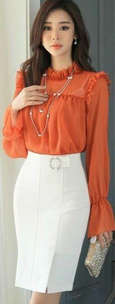 Kreis Schnalle Seitenschlitz H-Line Rock - blouse Skirt Outfits, Dress Skirt, Dress Up, Cute Outfits, Office Fashion, Work Fashion, Asian Fashion, Fashion Details, Circle Fashion