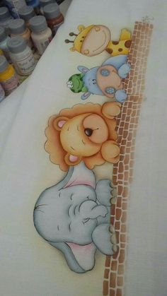 Bebé Baby Painting, Fabric Painting, Pencil Art Drawings, Cute Drawings, Diy And Crafts, Crafts For Kids, Kids Canvas, Baby Elephant, Baby Sewing