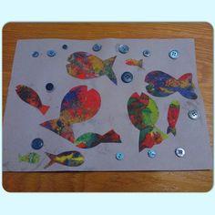 Sponge painted fish picture with button bubbles