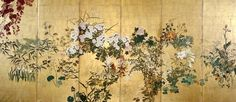 Screen. with autumn and winter flowers. A/k/a Flowers of the four seasons  Rimpa style six panel Byobu. Watanabe Shiko. Japan. Ashmolean Museum.