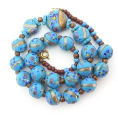 Antique Edwardian Venetian Blue Rose Fancy Aventurine Trade Lampwork Bead Necklace | Clarice Jewellery
