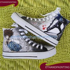 Death Note Canvas Shoes not Converse, Ryuuzaki Sneakers, Ryuuku Shoes, Hand Painted Canvas Shoes not Converse Sneakers Painted Canvas Shoes, Painted Sneakers, Hand Painted Shoes, Canvas Sneakers, Women's Sneakers, Custom Converse, Custom Shoes, Converse Shoes, Galaxy Converse