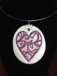 Ceramic Jewelry  Pink and purple heart pendant by kimjustice, $25.00