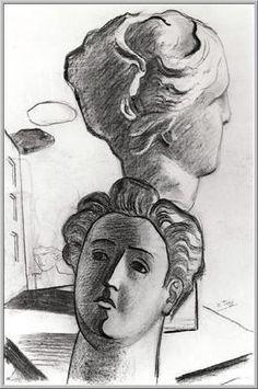 Mario Tozzi: carboncino 1929 Fronte e Profilo