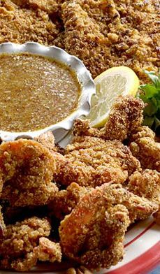 Pecan-Crusted+Chicken+&+Shrimp - Summer+sizzles+with+this+crunchy+treat+that+pairs+beautifully+with+a+fresh+crispy+salad! Duck Recipes, Shrimp Recipes, Chicken Recipes, Pecan Crusted Chicken, Turkey Dishes, Oat Flour, Honey Mustard, I Love Food, Soul Food