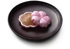 Japanese wafer cake shaped cherry blossom, filled with bean jam