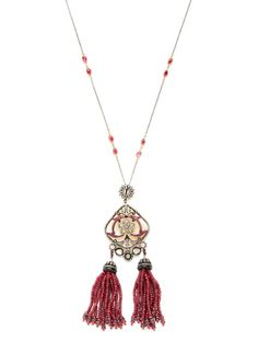 Carved Mother Of Pearl & Ruby Tassel Necklace by Amrapali at Gilt