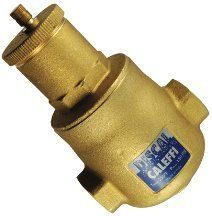 "Caleffi Brass Air Separator Discal VJR150TM by Caleffi. $266.71. Caleffi Discal Brass Air Separator. Low head loss 1/2"" NPT bottom thread Max working pressure: 150 PSI Working temperature range: 250F"