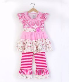 Look at this #zulilyfind! Freckles + Kitty | Pink & White Floral Angel-Sleeve Top & Ruffle Pants - Girls by Freckles + Kitty #zulilyfinds