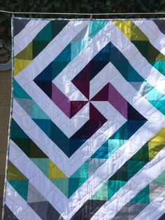 Baby or toddler handmade quilt, Modern geometric, Kona cotton solid fabrics, One of a kind, Ready to