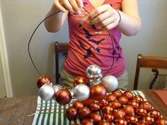 Smart Magazine | DIY: Christmas bulb wreath. looks easier than gluing bulbs to a frame.