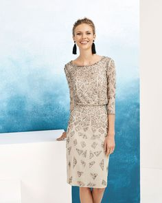 8d48de675f2 Aire Barcelona 83. Short beaded cocktail dress. With three-quarter sleeves.  Available in silver