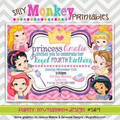 589: DIY - Royal Princess Celebration Party Invitation Or Thank You Card. $12.95, via Etsy.