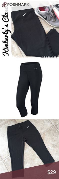 """🛍NIKE Dri-Fit Capri Leggings🛍 These Nike Dri-Fit Capri Workout pants are designed with great fit and comfort in mind. Lightweight and breathable, these women's training capris were designed with the environment in mind. They feature sweat-wicking Dri-FIT fabric to help keep you dry and comfortable. While Spandex in the fabric enhances freedom of movement, and it's also brushed for a soft feel.  Inseam measures 18"""". Gently used - very good condition. Nike Pants"""
