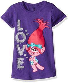 Trolls Girls' Little Girls' Love the Princess T-Shirt, Purple Rush, 6X