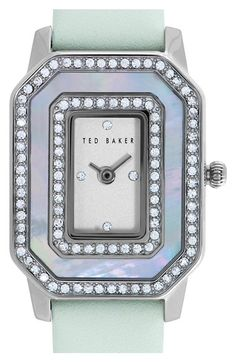 Ted Baker London Double Crystal Leather Strap Watch, 24mm available at #Nordstrom