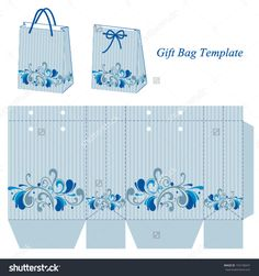 Light blue bag template with stripes and floral pattern. Vector illustration.