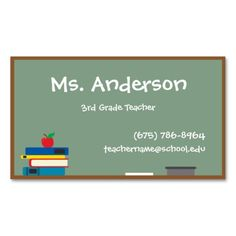 Green Chalkboard With Apple Teacher Business Card I Love This - Teacher business card template