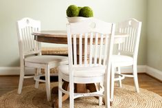 table and chairs -- love the wood and white