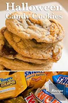 Halloween Candy Cookies -- use up all those leftover fun size candy bars. Halloween Cookies, Halloween Candy, Cookie Recipes, Snack Recipes, Snacks, Renaissance Food, Big Spoon, Silicone Baking Mat, Candy Cookies