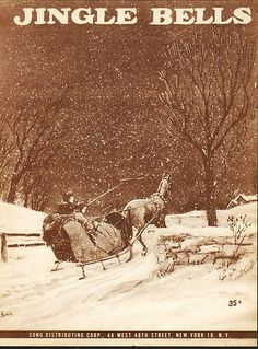 Jingle Bells 1950 Vintage Christmas Sheet Music