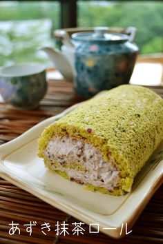 Green tea and azuki roll cake