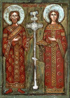 Orthodox Bulgarian icon of Constantine and his mother, St. Helena - When Roman Emperor Constantine the Great (reigned ruled Rome, Christianity became the dominant religion of the Roman Empire. Religious Images, Religious Icons, Religious Art, St Constantine, Constantine The Great, Early Christian, Christian Art, Christian Church, Basel