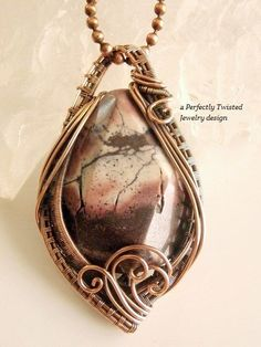 Wire Wrapped Pendant Necklace, Picture Jasper, Handmade Wire Weaved Jewelry, Antiqued Copper Wire Jewelry, Perfectly Twisted Jewelry   The