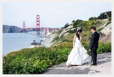 A breathtaking first-look at the Golden Gate Bridge vista point near Baker Beach. Photo by Wilson Lee Weddings.