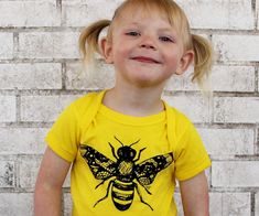 Bumble Bee Baby One-piece, Honey Bee, LEMON Yellow, Spring and Summer, Hand Printed, Insect Screenprinted Unisex Baby Clothing  Short Sleeve on Etsy, $19.75 AUD