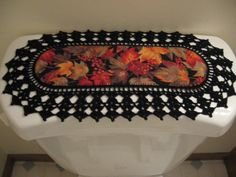 Aunt Roo's MINI Fall leaves fabric runner w/ crocheted edging for toilet tank or small shelf/table...