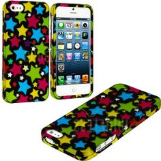 Amazon.com: myLife (TM) Rainbow Star Overload Series (2 Piece Snap On) Hardshell Plates Case for the iPhone 5/5S (5G) 5th Generation Touch P...