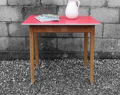 1950s Red Vintage Kitchen Formica Dining Table