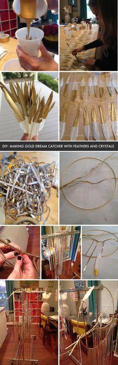 DIY: making a gold dream catcher