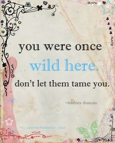 You were once wild here.  Don't let them tame you. ~ Isadora Duncan