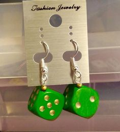 Excited to share the latest addition to my #etsy shop: Wooden Dice Earrings size 15mm Rockabilly Rockenroll 50's https://etsy.me/2rqQJFD