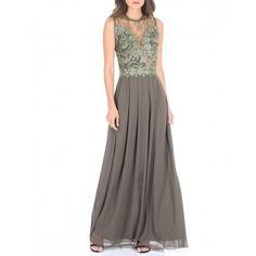 44f3d1a737 Długa szyfonowa sukienka dla świadkowej z koronkową górą w kolorze khaki