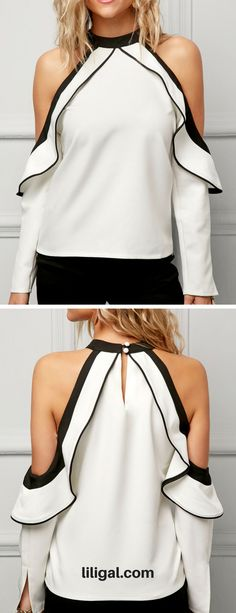 Long Sleeve Frill Cold Shoulder White Blouse   #liligal #blouse #shirts #top #womenswear #womensfashion
