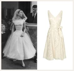 Audrey Hepburn's bridal style in the 1957 film Funny Face. Get the look with a short wedding dress such as the Amelia Rose Burnout Dress.