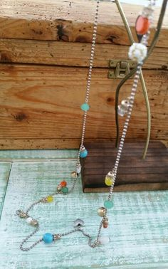 Colourful Gemstones and Beads, light gold plated chain