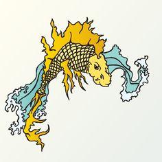 koi fisch der sich in einen drachen verwandelt und in die fluten springt wichtig für die bedeutung eines koi tattoos ist die legende in der er zum drachen wird wenn er den gelben fluss bezwingt