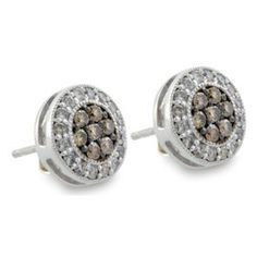 Malakan Jewelry - Silver Brown Treated Diamond Stud Earrings  53268B1