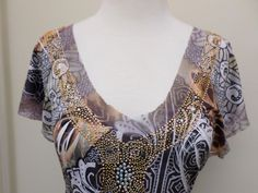 Oneworld Live and Let Live Embellished Knit Top Blouse Size S Multi Color…