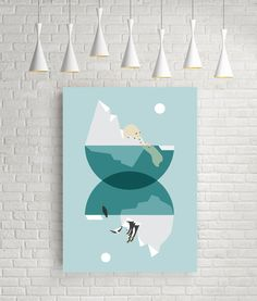 North and south - modern geometric wall art - minimalist geometric poster. Ideal for decorating your living room or office.  Design by FLATOWL.  Printed
