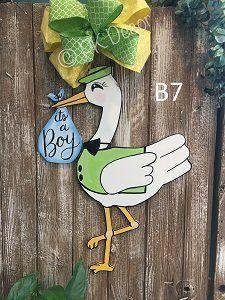 - Stork Door Hanger - It's A Boy Door Hanger - It's A Girl Door Hanger - Baby Announcement - Stork Hospital Door Hanger Baby Door Hangers, Hospital Door Hangers, Baby Shower Cakes, Baby Shower Themes, Baby Stork, Baby Boy Announcement, Baby Blessing, Baby Decor, Wood Doors