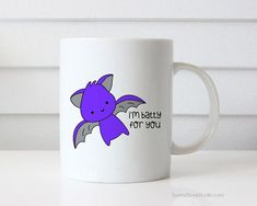 Funny Coffee Mug Halloween Gift For Boyfriend Girlfriend Batty Bat Love You Pun Wife Husband Happy Anniversary Birthday Fun Cute Gifts Mugs  Im Batty For You...a fun way to say I love you to your boyfriend, girlfriend, wife, husband, significant other and tell them how just how much they mean to you! Perfect for their birthday, your anniversary and Halloween, this cute little bat in love mug will put a smile on their face and make a sweet companion to any daily coffee routine!  Design is…